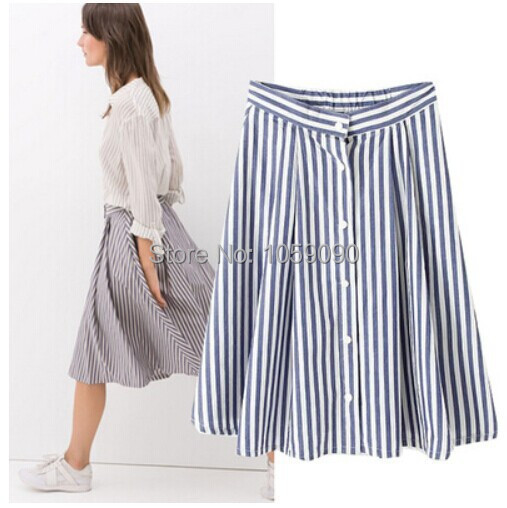 06a1f5650 2014 ZA Brand New Fashion Ladies Women Basic Design Vertical Blue White  Stripe Print Skirts Skirt Long Skirts With Buckles SML