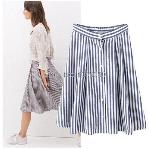 901b43ba4 2014 marca ZA nueva moda mujeres diseño básico Vertical azul blanco faldas  a rayas de impresión