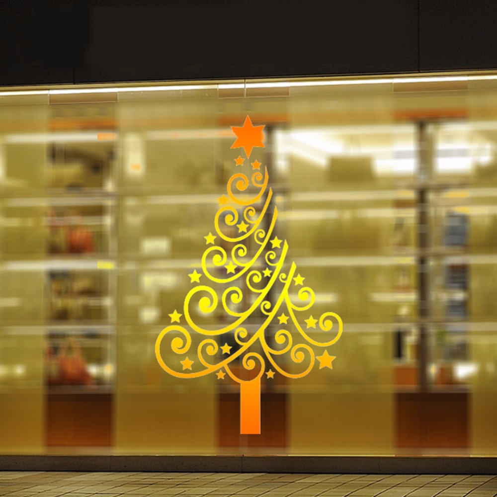 New Design Gold Christmas Tree Wall Stickers Star Window Door Mirror ...
