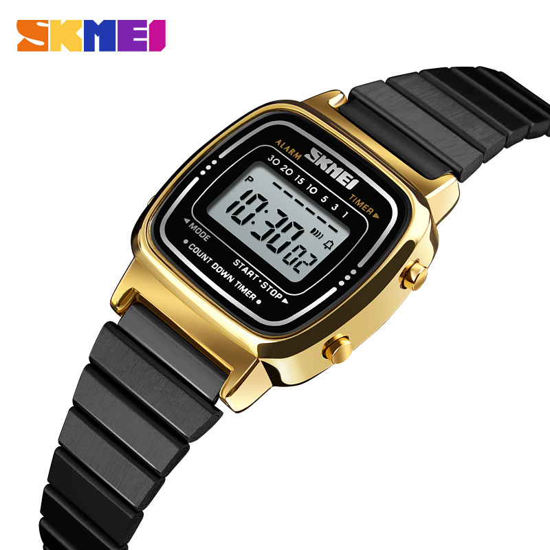8cdfed5ff41 SKMEI Relógio Digital de Ouro Das Mulheres Dos Homens Relógios de Ouro De  Luxo Relógios de Pulso de Aço Inoxidável Feminino Masculino Relógio Relogio  ...