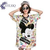 2017 New Women T Shirt Summer O Neck Short Sleeve Sequins Mickey Cartoon T Shirt Female