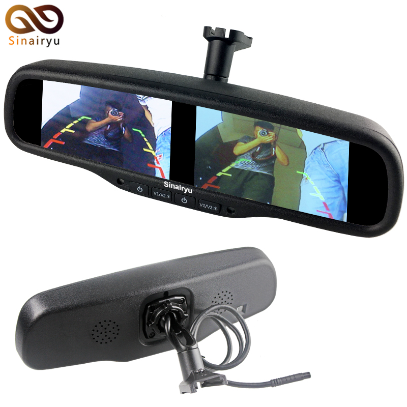 Sinairyu 4.3 Inch Dual HD Display Screen Car Rear View Parking Mirror Monitor with 4 video inputs Parking driving safer diysecur 4pin dc12v 24v 7 inch 4 split quad lcd screen display rear view video security monitor for car truck bus cctv camera