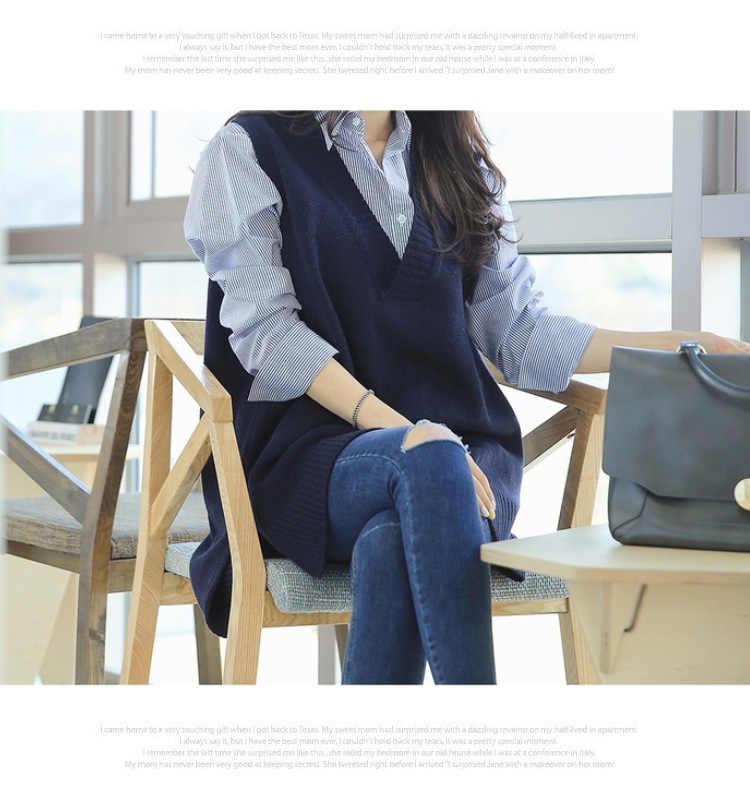 2019 neueste weste frauen front ist kurz die zurück ist lange stil ärmelloses mid-lange V-ausschnitt lose jacke pullover weibliche pullover