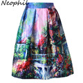 Neophil 2016 Retro Fashion Building Floral View Print Pleated High Waist Ball Gown Midi Skater Short Skirts Women Saia S1607026