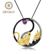 GEMS בלט 925 סטרלינג כסף בעבודת יד עכברוש תליון שרשרת טבעי אמטיסט חן סיני גלגל המזלות תכשיטי עבור נשים