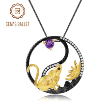 GEMS BALLET 925 Sterling Silver Handmade Rat Pendant Necklace Natural Amethyst Gemstone Chinese Zodiac Jewelry For Women