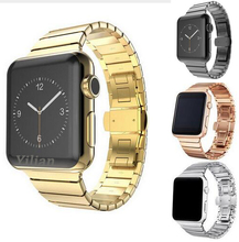 Series 4/3/2/1 Link Bracelet metal starps For Apple Watch Band 44/42mm 40/38mm Stainless Steel Butterfly Clasp Buckle For iWatch