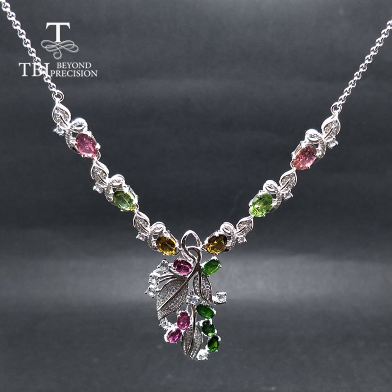TBJ,Party luxury design with natural tourmaline and diopside gemstone necklace in 925 sterling silver fine jewelry for lady with
