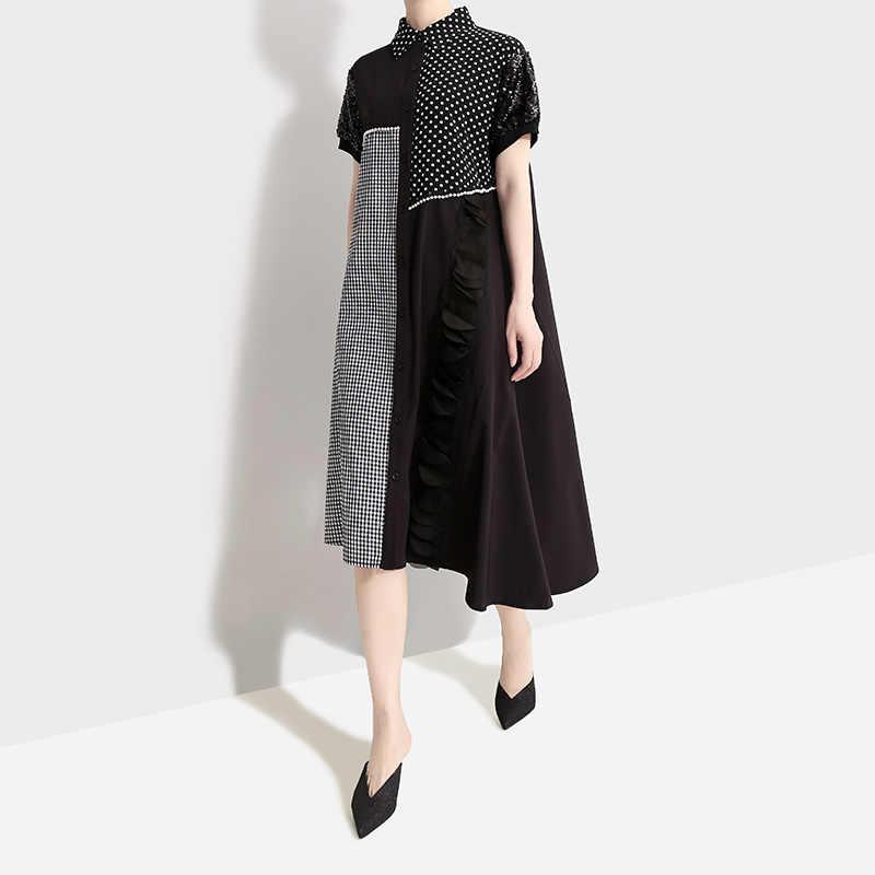 Женское платье-рубашка с короткими рукавами, платье-рубашка контрастных цветов с блестками, платье составного кроя в клетку и в горошек, модель 5003 в корейском стиле на лето, 2019