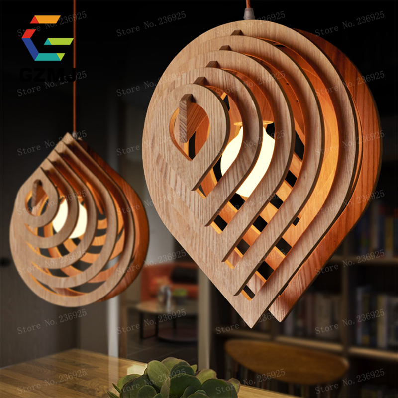 GZMJ Home Dining Room Pendant Lamps Modern Restaurant Coffee Bedroom Pendant Lights Fixtures Real Wood Material AC110V/220V E27 vintage pendant lights kitchen dining room fixtures luminaire modern restaurant pendant lamps coffee bedroom lighting