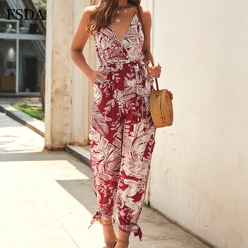 FSDA Deep V Neck Floral Print Summer Jumpsuit Boho Backless Hollow Out Lace Up Bow Sashes Beach Side Slit Women Jumpsuits