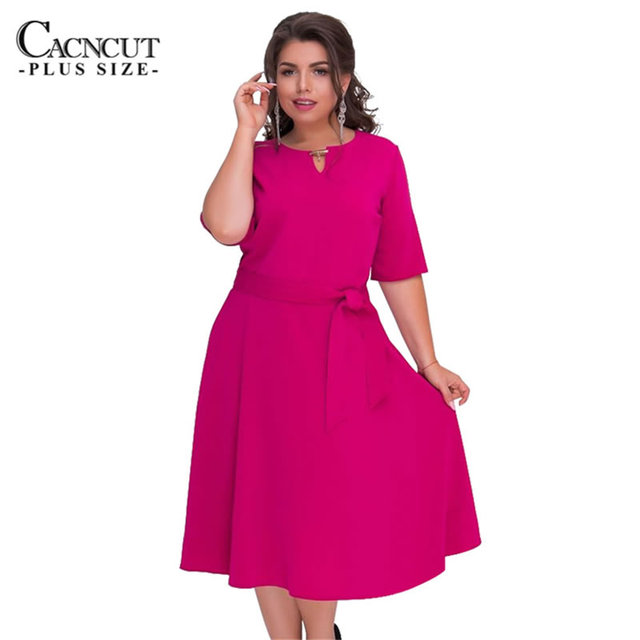 6XL 2018 New Autumn dresses large sizes belt Big Plus Size office dress  Sashes women dress red Elegant party clothing vestidos 4261679f09f4