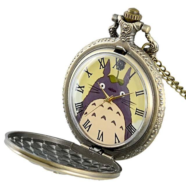 Totoro Vintage Bronze Quartz Pocket Watch With Chain