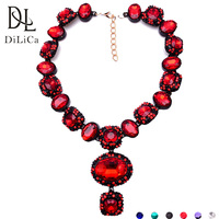 DiLiCa Gorgeous Crystal Chokers Necklaces for Women 2018 Geometric Statement Necklace Pendant Red Green Choker Necklace Jewelry