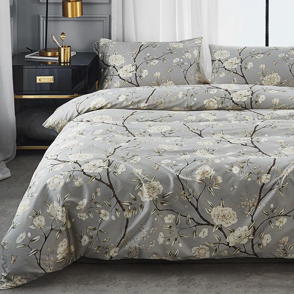 Modern Flower bedSet Grey floral Country style Bedding Set ...