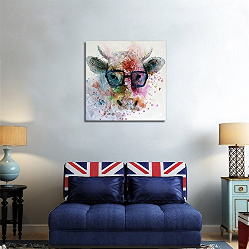 Large Size 100% Hand Painted Animal Oil Painting Animal Smart Bull Glasses Unframed Cheap Price for Living Room Unique Gift Art