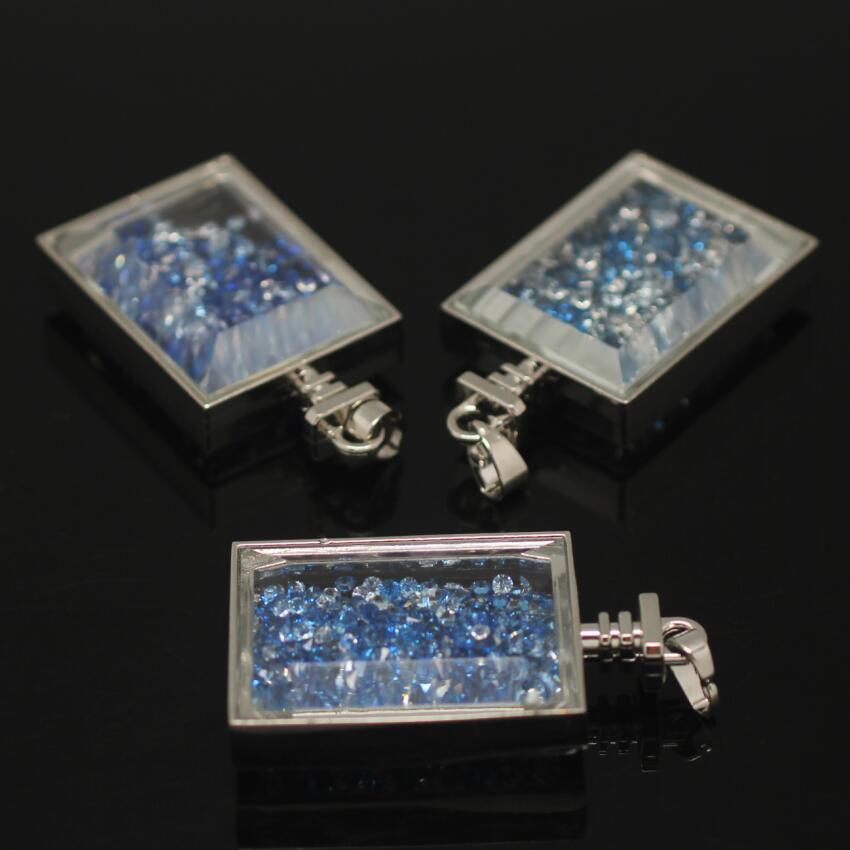 Silver Plated Blue Rhinestone chips Box Pendant,Rhinestone ... |Glass Box Necklace