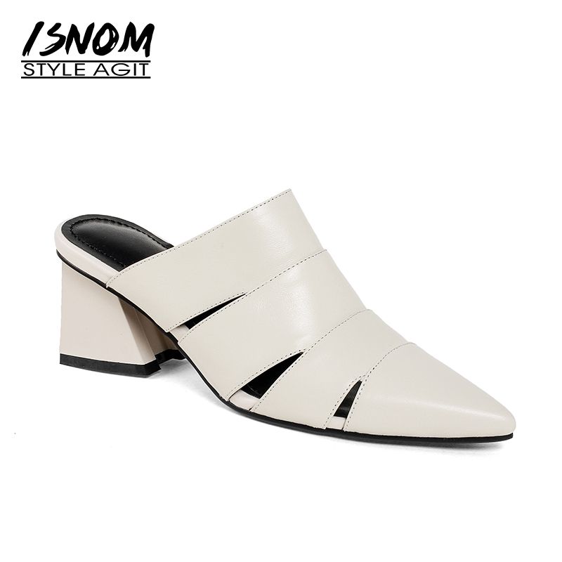 ISNOM 2019 Fashion Women Shoes Summer Mules Genuine Leather Pointy Slippers Thick Heels Lady Footwear Female