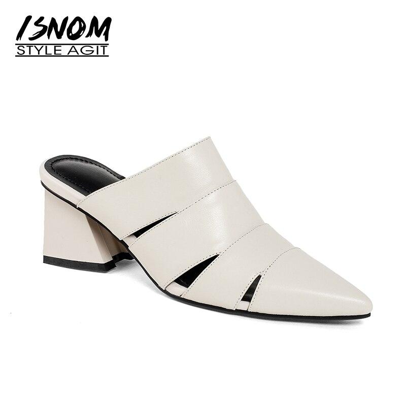 ISNOM 2019 moda damskie buty letnie muły prawdziwej skóry Pointy kapcie grube obcasy pani obuwie damskie buty w stylu casual w Kapcie od Buty na  Grupa 1