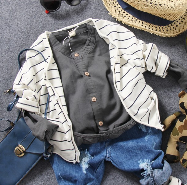 only cardigan 1pc 2-8Y new 2017 spring boys knitting striped cardigan kids all seasons sweater boys handsome coat