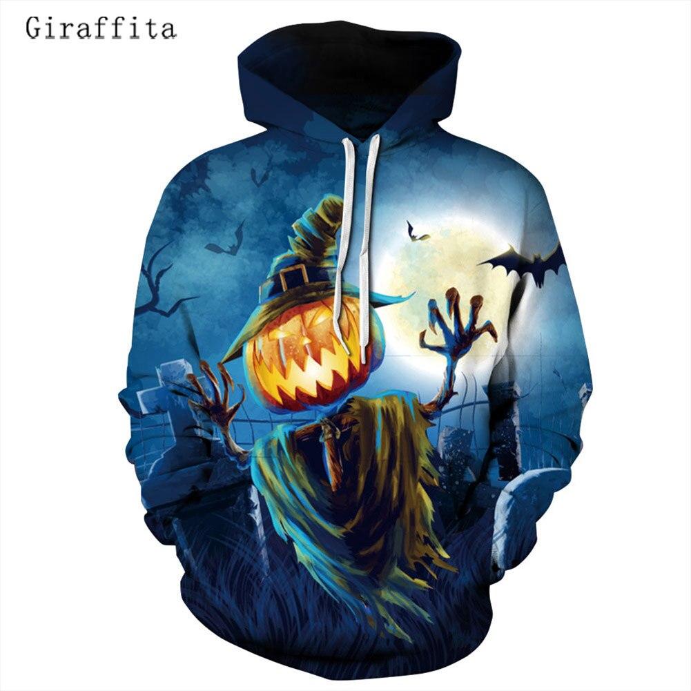 Giraffita New 3D Print Halloween Pumpkin Hoodie Women And Men Hooded Sweatshirt Pullover Streetwear Outfits Hoody Dropship