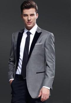 Custom Made Black Lapel Grey Jacket Tuxedo Wedding Dress Suits Party Suits For Man(Jacket+Pants+Tie)