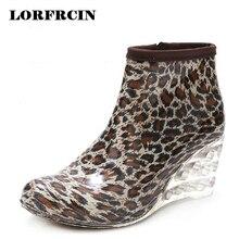 Women Rain Boots Wedge High Heel Rainboots Ankle Botines Mujer Waterproof Rubber Boots Wellies Femininas Botas