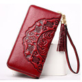 2017 Fashion Women Genuine Embossed Leather Wallet Ladies Luxury Purse With Tassel Card Holder Cash Zipper Organizer Wallets New