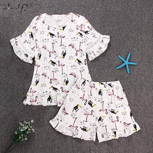 Image 2 - Flamingo Print Zomer Korte Pyjama Sets Voor Vrouwen Mode Ruches Print Shorts Nachtkleding Pyjama Homewear Pijama Mujer Kleding