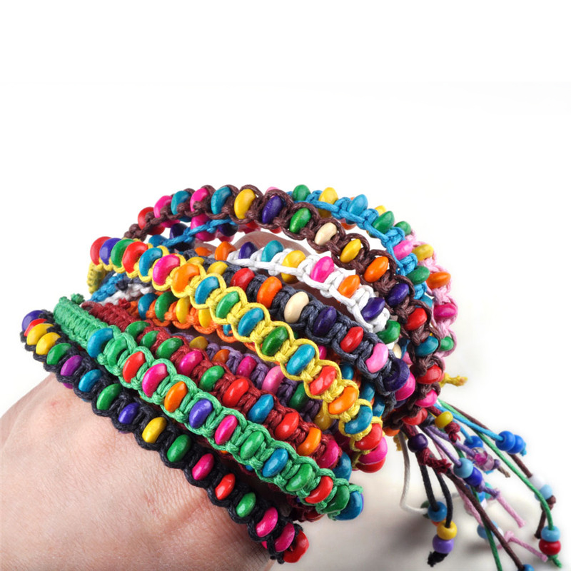 1pc Wholesale Wood Beads Braid Handmade Friendship Braceletss