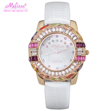 Luxury Melissa Lady Women's Wrist watch Rhinestone Crystal Fashion Hours Dress Bracelet Shell Lucky Seven Girl BIrthday Gift