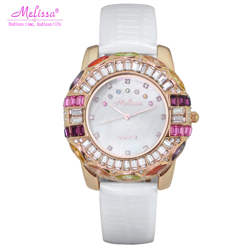 Montre de luxe femme Melissa montre-Bracelet strass cristal mode heures robe Bracelet coquille chanceux sept fille cadeau d'anniversaire