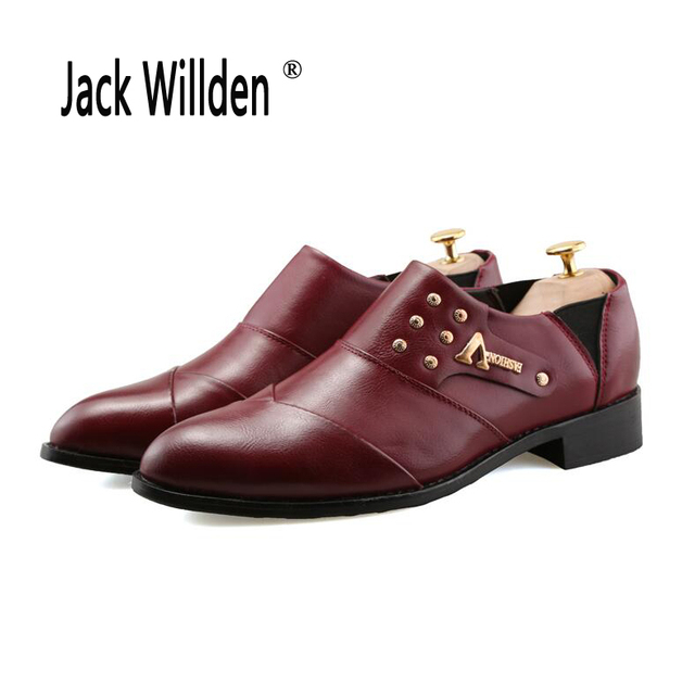 cee7a1832d Jack Willden Men Leather Dress Shoes Pointed Toe Designer Classic Slip-On  Black Burgundy Oxford Shoes For Wedding Party