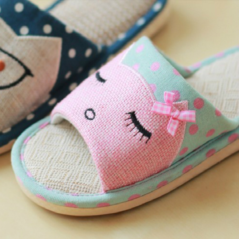 2019 new Summer linen slippers ladies living home anti-skid cotton thick cute cartoon indoor summer floor cooler slippers 2