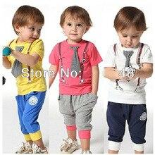 Оптовая 5 Компл./лот Дети детские мальчиков короткие одежды костюмы установить детский джентльмен лето осень рубашка футболка + брюки + поддельные галстук наборы