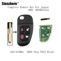 Stenzhorn 3pcs 433 315Mhz Car Remote Key Fob For Jaguar S Type XJ8 2002 2003 2004