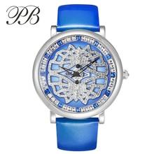 PB Marca superior de Cristal Austriaco Mujeres de Lujo Relojes de Diamantes Elegante Cuero Genuino de Las Señoras de Cuarzo Reloj de Vestir relogio feminino