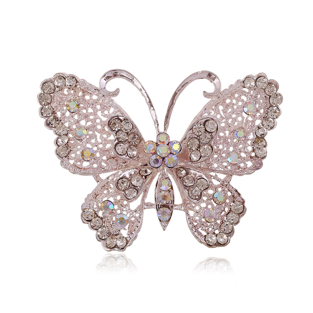 Oneckoha Fashion Ab Color Rhinestone Butterfly Brooch Pin