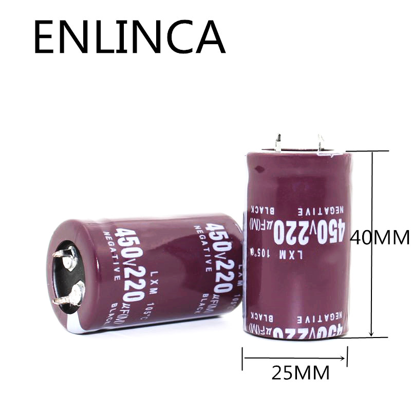 1pcs/lot 450V 220UF 450V220UF Aluminum Electrolytic Capacitor Size 25*40mm ECK2 20%
