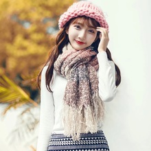 Korean version of the female winter student thickened shawl Shanshan to the same paragraph wool long warm scarf