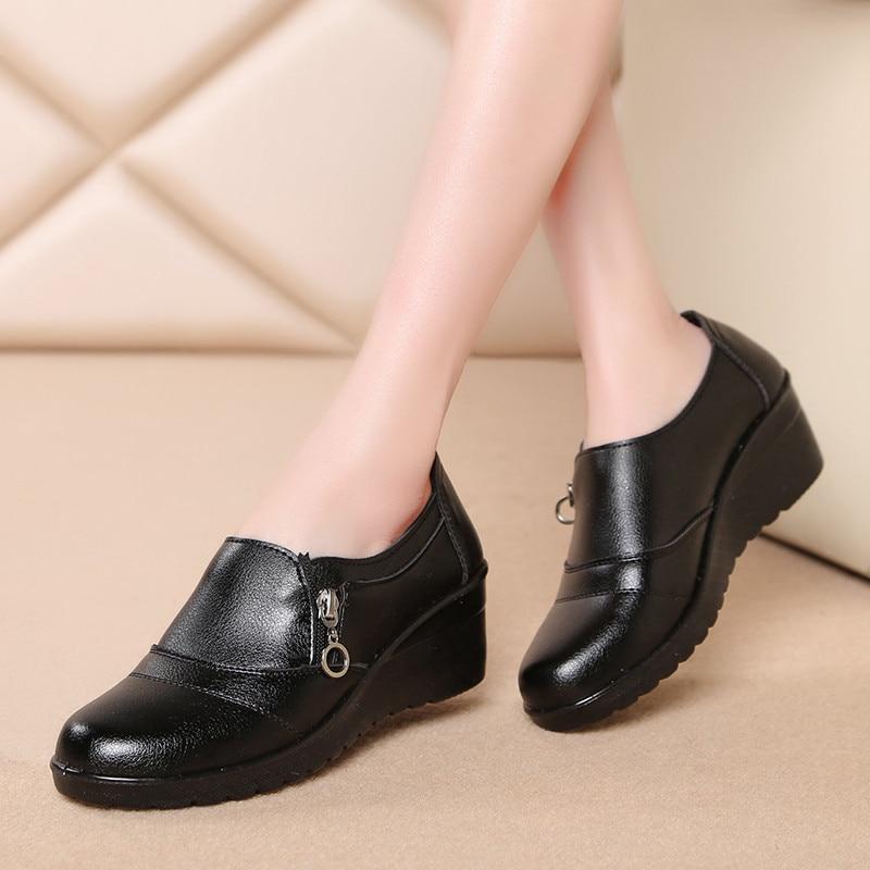 Nouveau Cuir Nouvelle Sur 2018 Travail Mariage Chaussures Mode Mère 1 Véritable Confortables 2 3 Printemps De Slip Les Femmes Automne dtxwv1