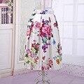 Moda de primavera Y Verano de Las Mujeres Falda Elástico de la Cintura Del Imperio Midi Tutu Flor Impresa Puesto En Una Gran Oscilación Colorido Satén faldas