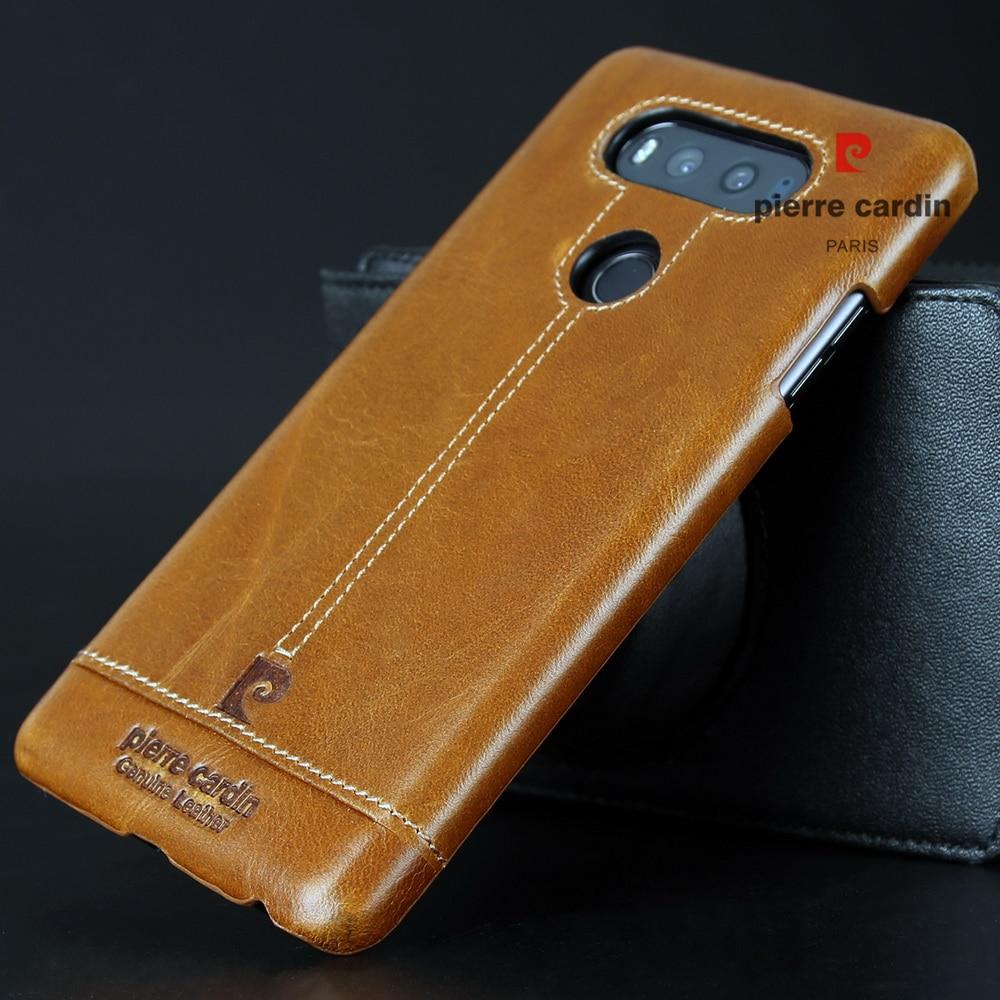 Pierre Cardin Dijahit Kulit Asli Kasus Untuk LG V20 V10 G4 G5 Hard - Aksesori dan suku cadang ponsel - Foto 5