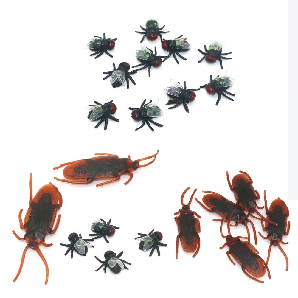 10pcs Jokes Funny Toys Housefly / Cockroach Plastic Bugs April Fool's Day Props Simulated Flying Halloween Decoration