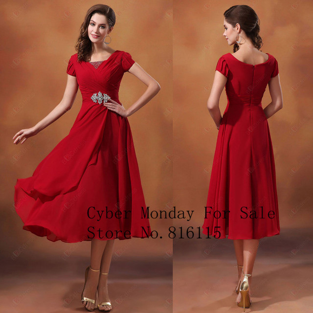 bd71b7022e9 Short Bridesmaid Dresses Red Color With Short Sleeve Scoop Neck Tea Length Bridesmaid  Dress