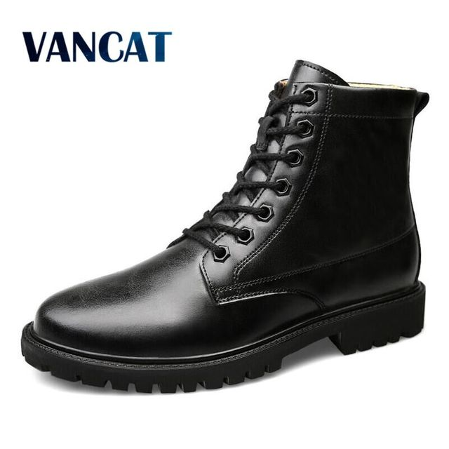 VANCAT Winter Men  Boots High Quality Genuine Leather Men Ankle Boots Lace Up Work Boots  For Men Waterproof Rain Boots