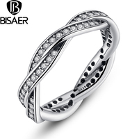 925 Sterling Silver BRAIDED PVE SILVER RING with Clear CZ Authentic Twist Of Fate Stackable Ring Jewelry HJ7116