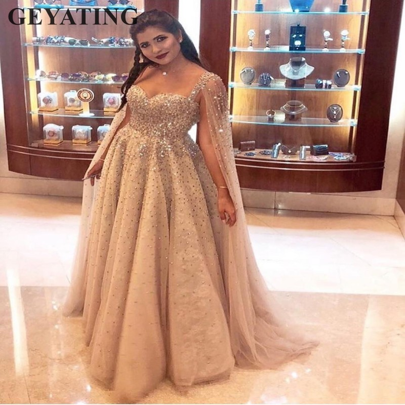 c74ec0a52daa3 Luxury Crystal Beaded Dubai Prom Dresses 2019 Long Champagne Saudi Arabic  Evening Dress with Cape ...