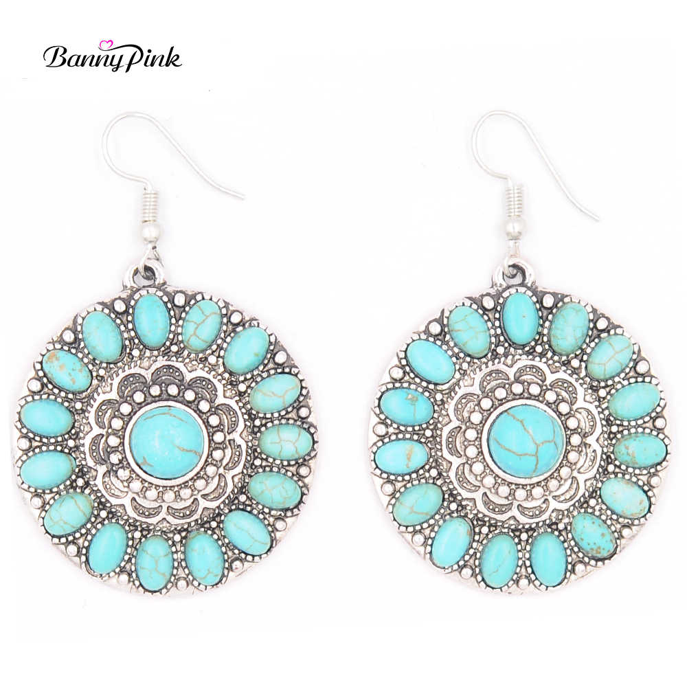 Banny Pink Vintage Synthetic Stone Statement Drop Earrings For Women Ethnic Indian Metal Geo Pendant Dangle Earrings Pendientes