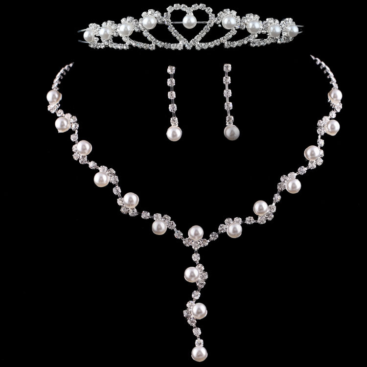 Free Shipping Hot Sale Pearl Wedding Jewelry Set Silver Plated